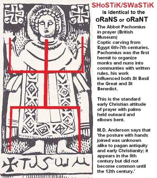 Orans Abbot Pachomius in pagan prayer shostik swastik