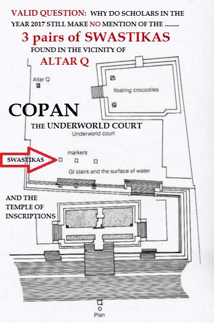 Copan Temple of Inscriptions Western Court SWASTIKAs described as both Sky God Bolon Dz'acab and Maize God