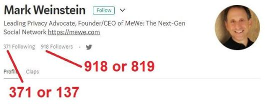 MeWe Mark Weinstein 137 and 819 coincidences