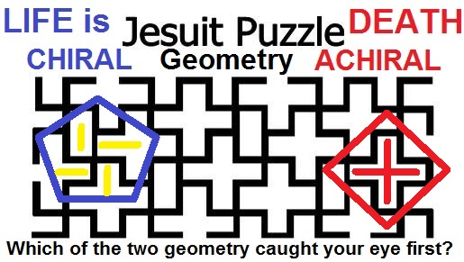 ACHIRAL cross CHIRAL swastika Jesuit puzzle LIFE DEATH